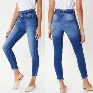 Women's Kancan Distressed Skinny Blue Pant